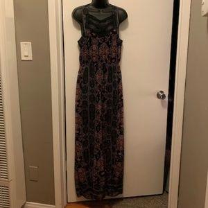 NWOT Free People black pink tribal lace maxi dress